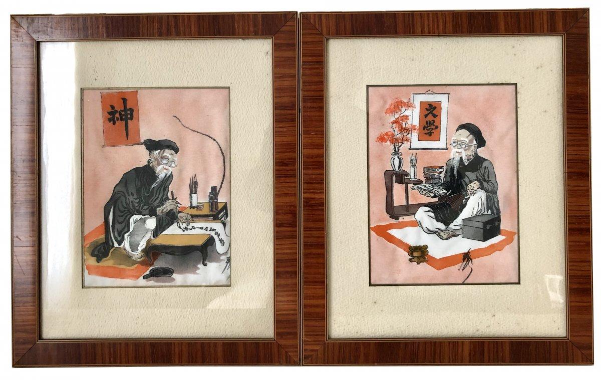 Vietnam, Première Moitié XXème Siècle, Paire de Peintures sur Soie Figurant un Lettré.