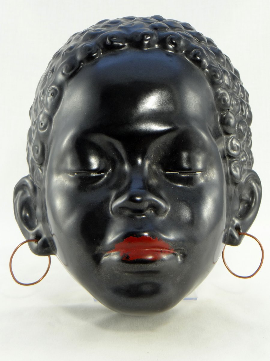France, Vallauris, 1950s, Africanist Ceramic Mask.