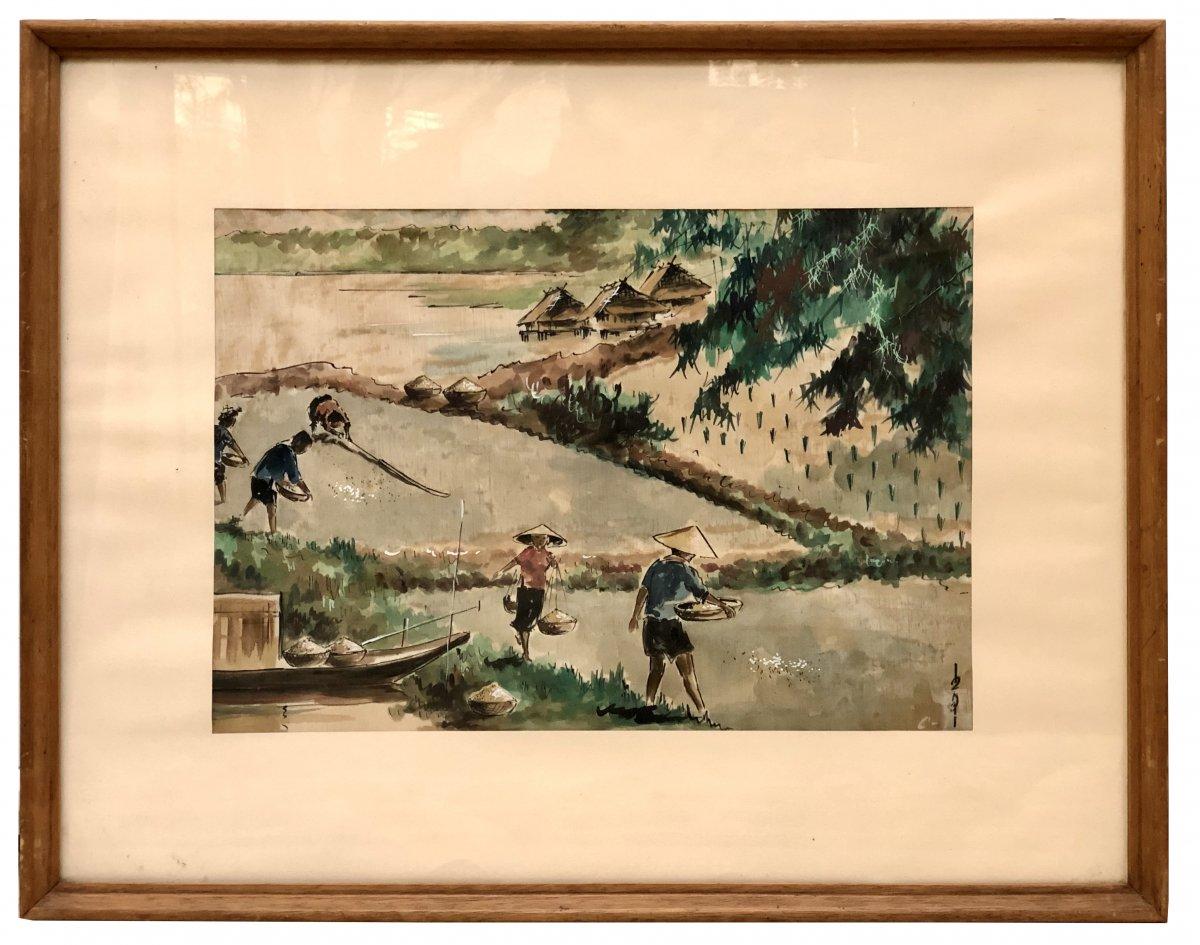 Vietnam, Milieu Du XXème Siècle Ou Antérieur, Peinture Sur Soie La Récolte Du Riz.