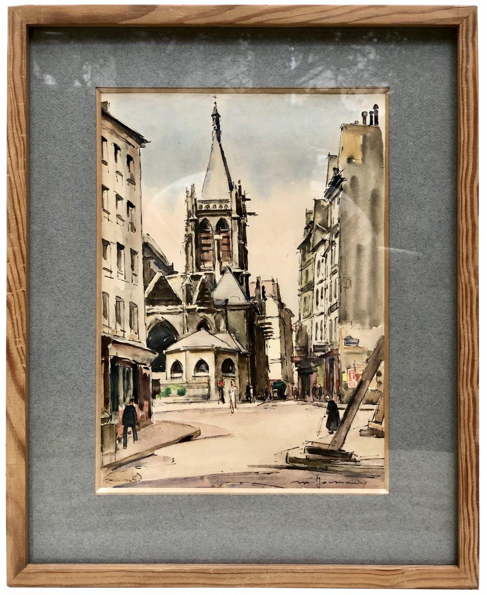 Maurice JOURNAUX, actif au XXème siècle, aquarelle église St Séverin Paris 1946.