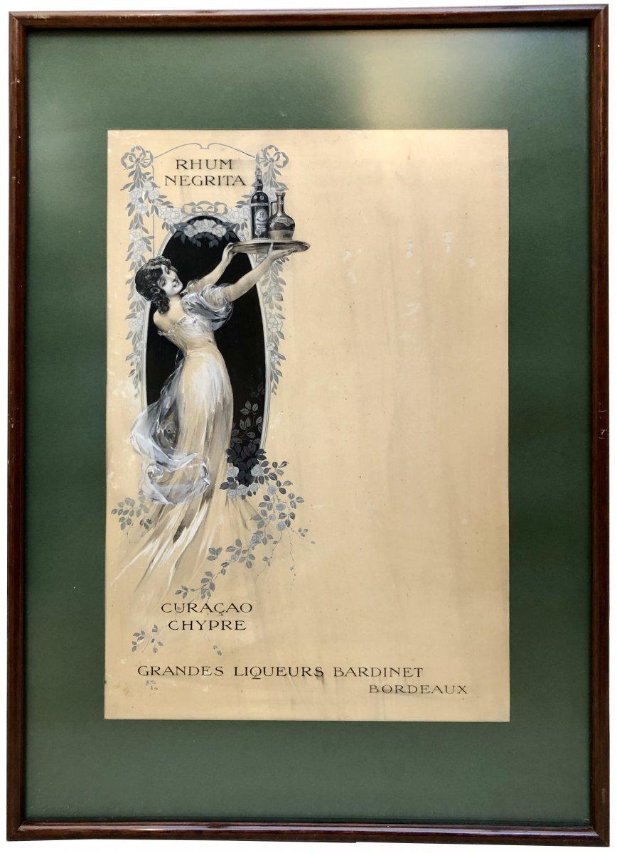 France Art Nouveau Era, Original Drawing Project Of Transatlantic Liner Menu.