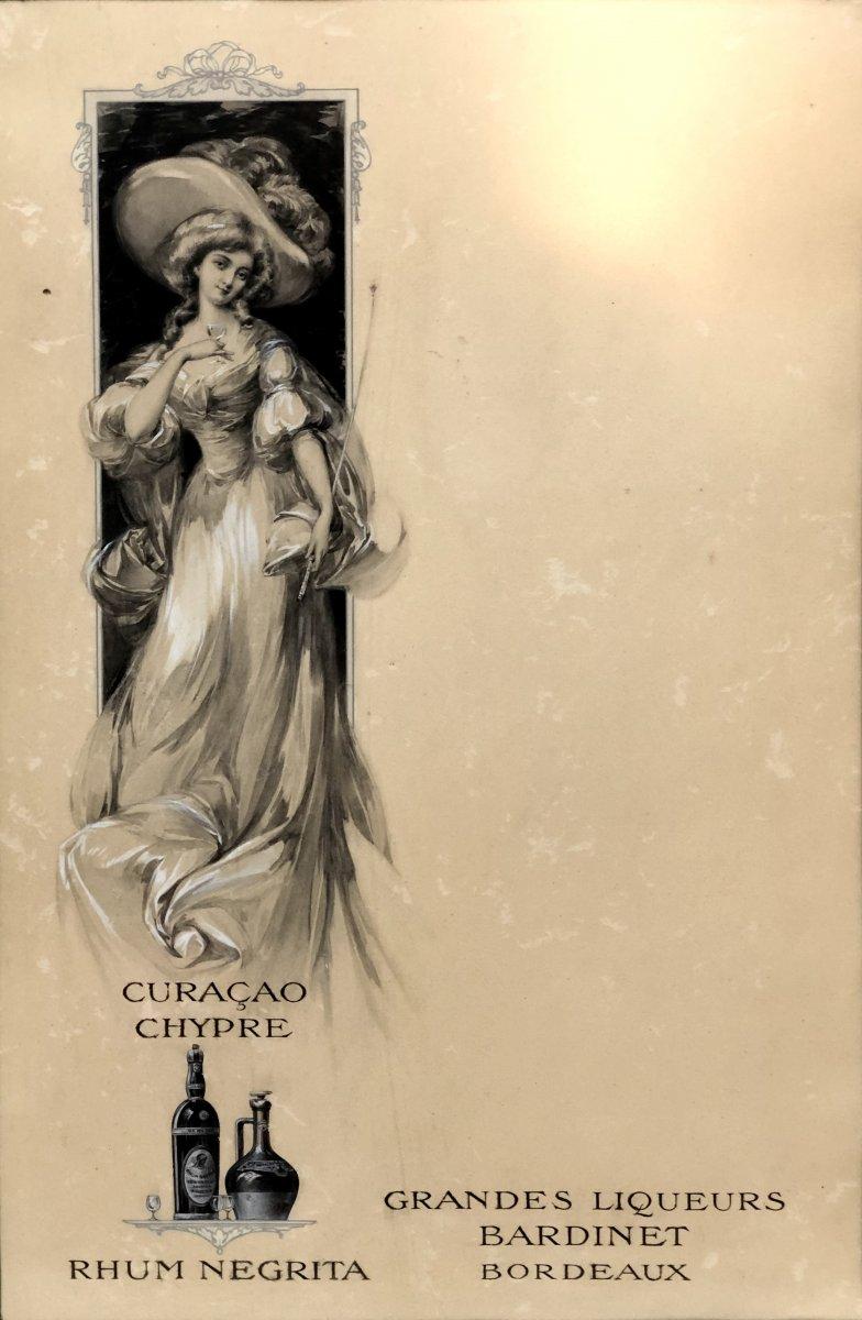 France Art Nouveau Era, Original Drawing Menu Project Transatlantic Liner Ii-photo-2