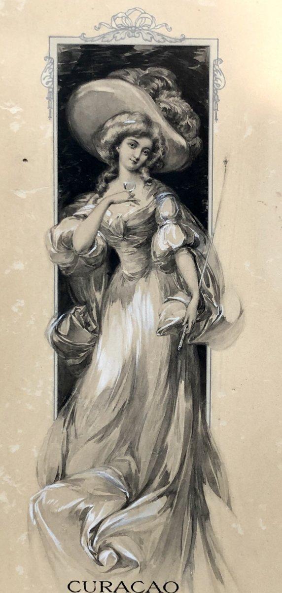 France Art Nouveau Era, Original Drawing Menu Project Transatlantic Liner Ii-photo-3