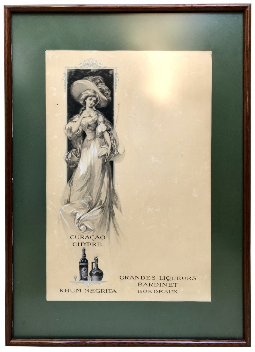 France époque Art Nouveau, Dessin Original Projet De Menu Paquebots Transatlantiques II