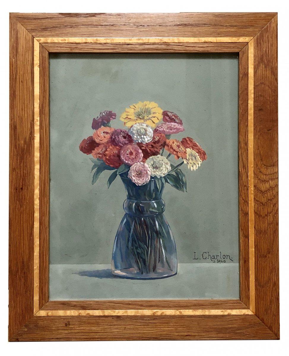 Léon-Paul CHARLON, gouache bouquet de fleurs 1938.