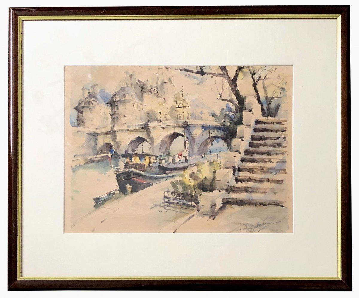 Lucien DELARUE (1925-2011), lavis d'encre et aquarelle l'île Saint-Louis à Paris 1960/1970.