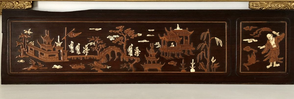 Vietnam Around 1900, Panel Inlaid With Boxwood And Ivory Decor From Animated Scenes.