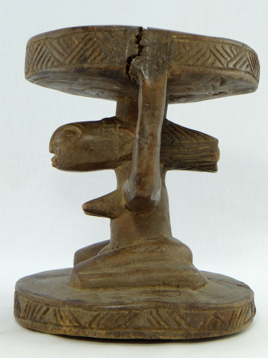 Rép. Dém. Du Congo,  Peuple Luba/Hemba, Siège Cariatide Bois Sculpté Personnage Féminin.  -photo-3