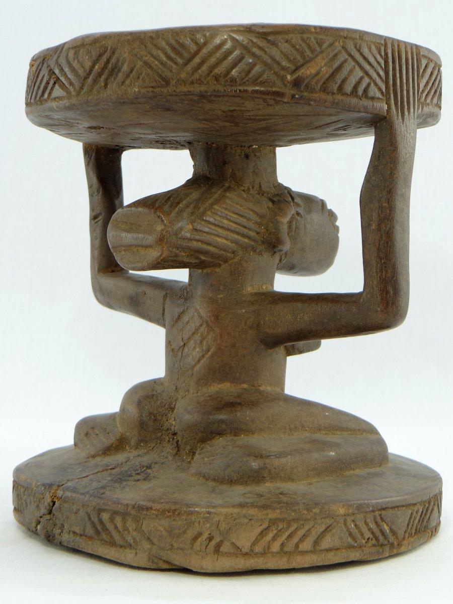 Rép. Dém. Du Congo,  Peuple Luba/Hemba, Siège Cariatide Bois Sculpté Personnage Féminin.  -photo-1