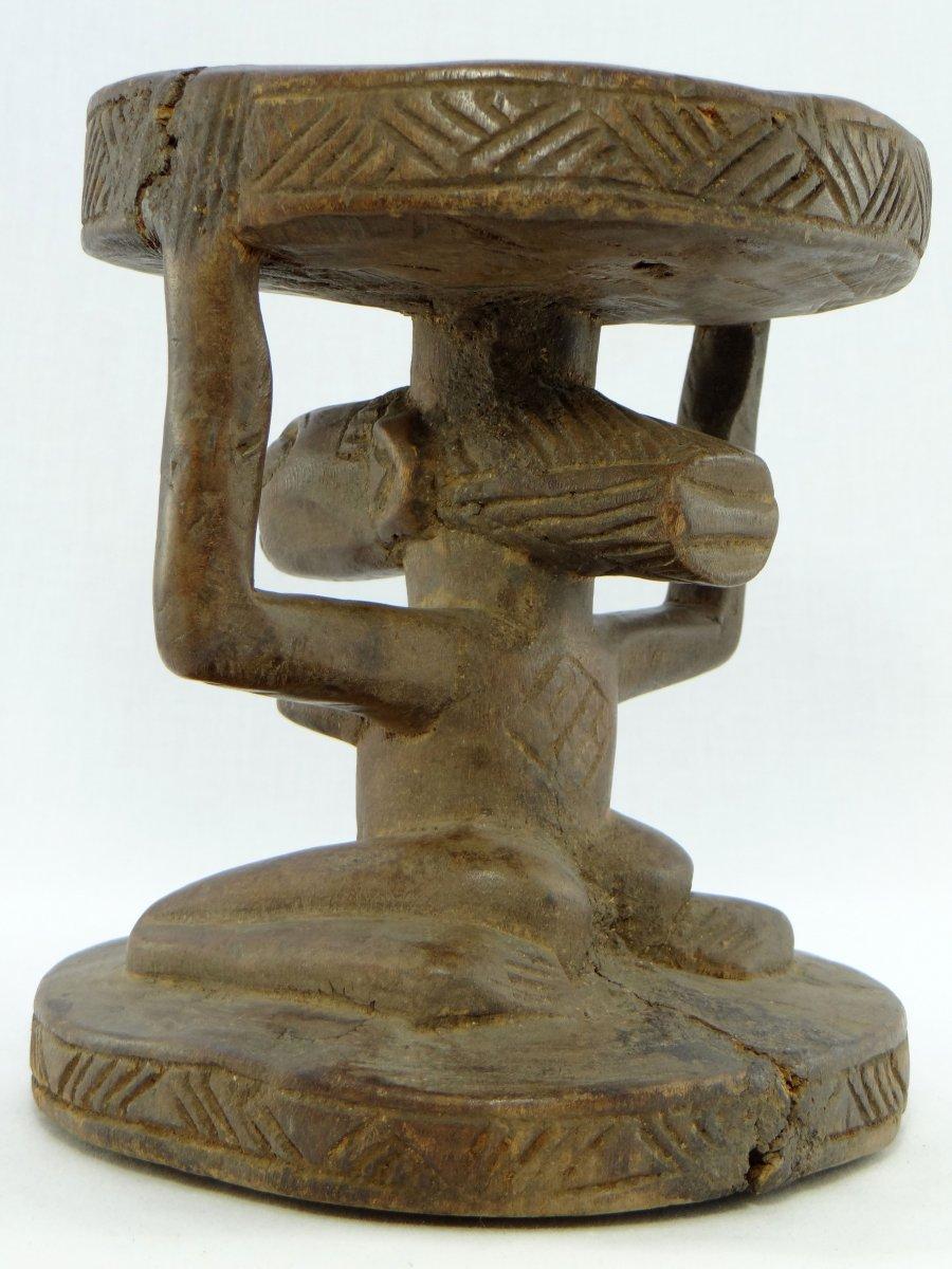 Rép. Dém. Du Congo,  Peuple Luba/Hemba, Siège Cariatide Bois Sculpté Personnage Féminin.  -photo-2
