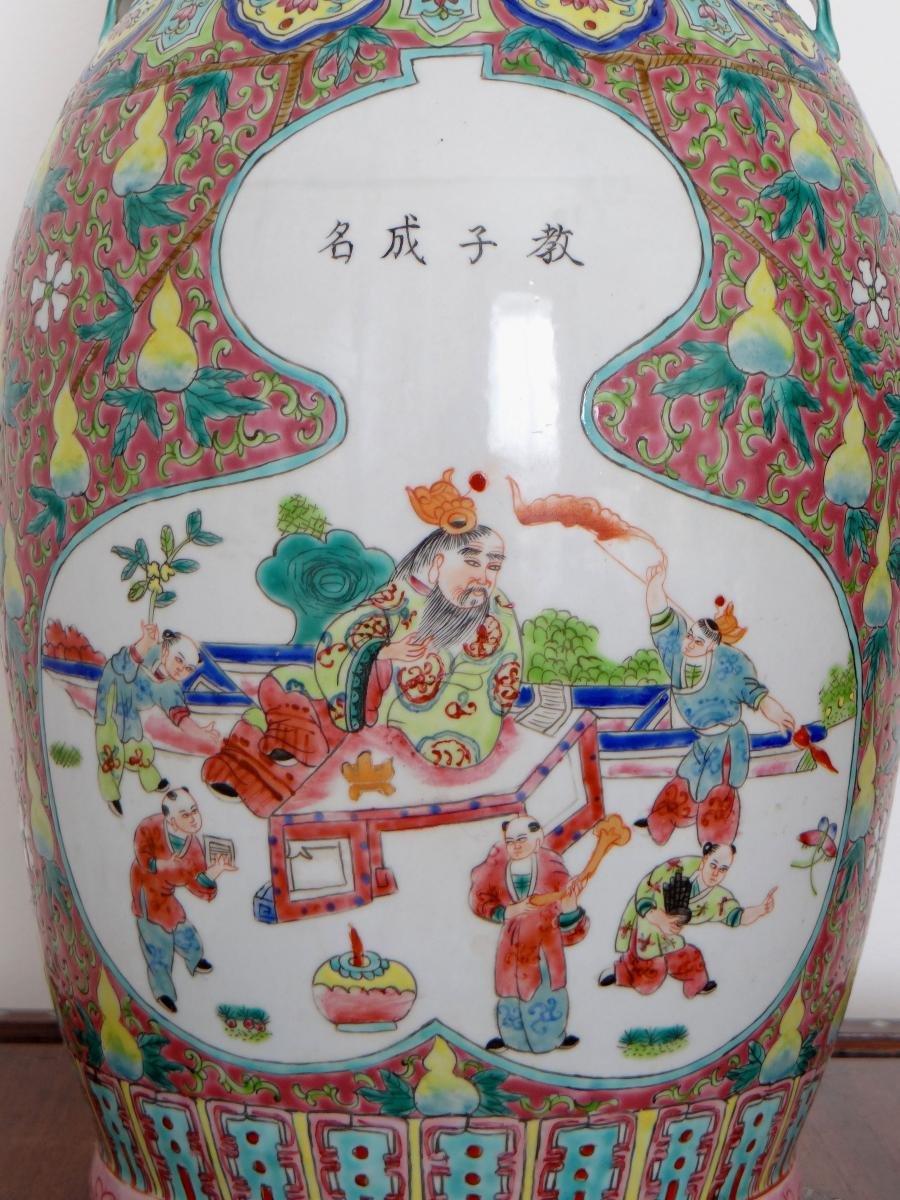 Chine, Début Du XXème Siècle, Important Vase En Porcelaine. -photo-2
