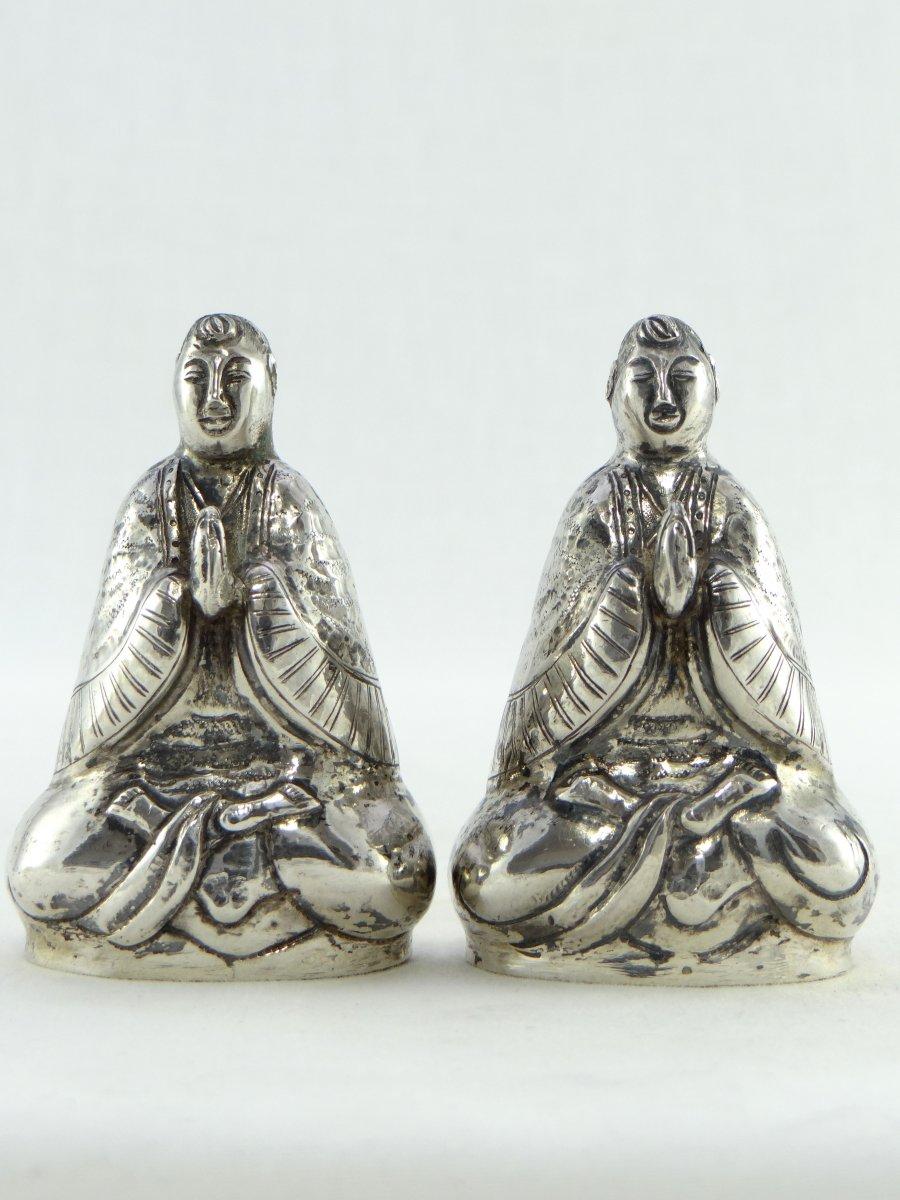 China, Mid 20th Century, Pair Of Silver Salt Shakers Representing Bodhisattva.