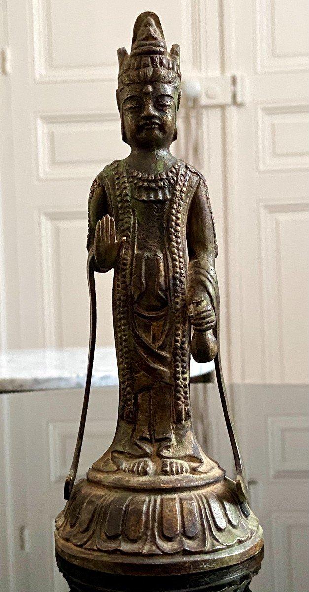 Japon Vers 1900, ère Meiji, Statue De Kannon En Bronze.