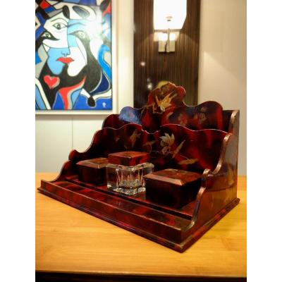 Inkwell Cardboard Boiled Thick Lacquer. Napoleon III Decor Inspired From Asia