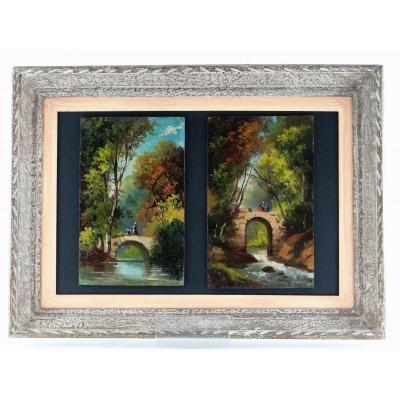 France XIXth Century, Pair Of Paintings On Panels, Animated Landscapes.