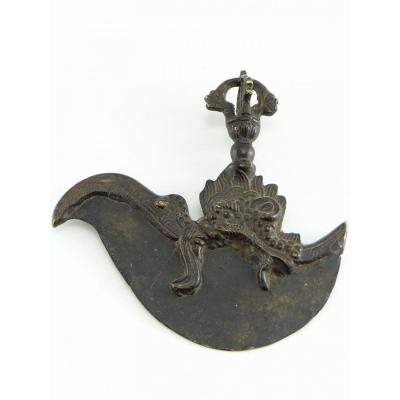 Nepal, Early 20th Century, Kartrika Cleaver In Bronze And Iron.