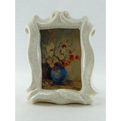 France, 1948, Watercolor Bouquet Of Flowers Yvonne Le Hir In Cracked Frame