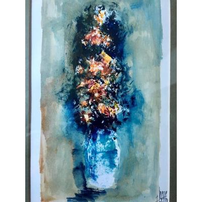 Fernand HEUZÉ (né en 1914), aquarelle bouquet de fleurs 1968