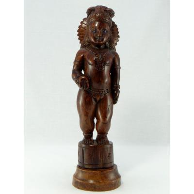 India 1940s / 1950s, Carved Wooden Statuette Of Krishna Child.