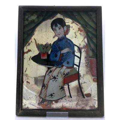 China, Last Third Of The Nineteenth Century, Under Glass Painting A Child.