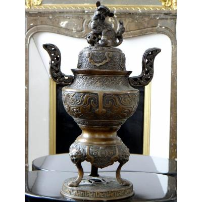 Chine, XIXème Siècle, Important Brûle-parfum En Bronze.