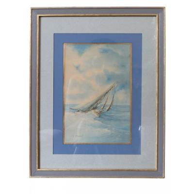 France, Early Twentieth Century, Pair Of Watercolors Contained Marines Signed Ch. Bernard.