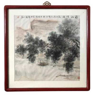 China XXth Century, Work With Ink And Ink Of Ink River And Mountain Landscape.