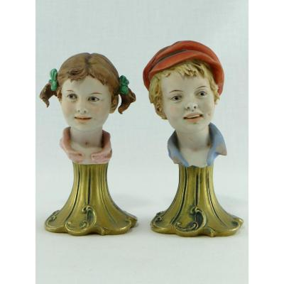 Italy, 1960s, Pair Of Child Busts In Porcelain Biscuit By Triad Capodimonte