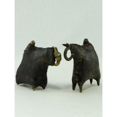 Chad, Sao People, Pair Of Horsemen In Copper Alloy Leather-wrapped.