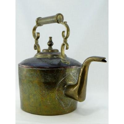 Morocco, Fez Region, Beginning Of The XXth Century, Kettle In Tinned Iron And Copper.