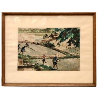 Vietnam, Mid 20th Century Or Earlier, Painting On Silk The Rice Harvest.