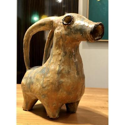 Beginning Of The XXth Century, Ceramic Sculpture Ibex Spirit Aquamaniles From Iran.