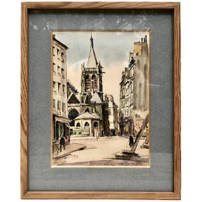 Maurice Journaux, Active In The 20th Century, Watercolor St Séverin Church Paris 1946.