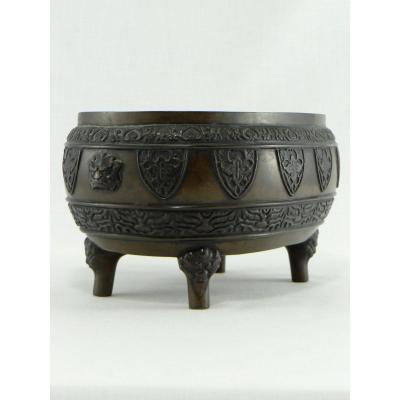 Japon, Fin Du XIXème Siècle - Début Du XXème Siècle, Brûle-parfum Quadripode En Bronze.