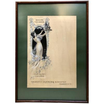 France époque Art Nouveau, Dessin Original Projet De Menu Paquebots Transatlantiques.