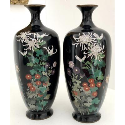 Japan, Last Third XIXth Century, Meiji Era, Pair Of Cloisonne Enamel Vases Over Silver.