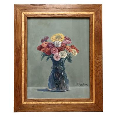 Léon-paul Charlon, Gouache Bouquet Of Flowers 1938.