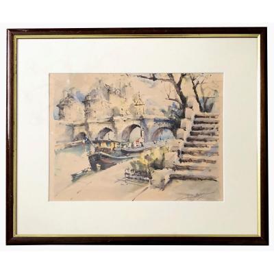Lucien Delarue (1925-2011), Ink Wash And Watercolor Ile Saint-louis In Paris 1960/1970.
