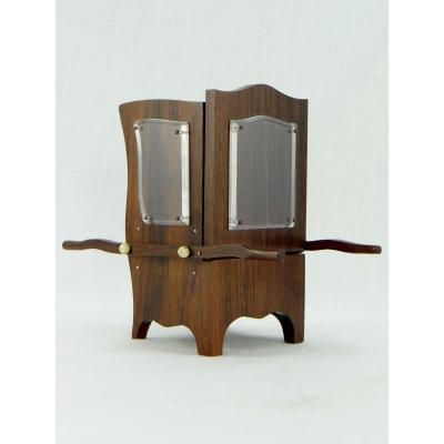 France, Art Deco Period, Rosewood Card Holder In The Shape Of A Bearer Chair.