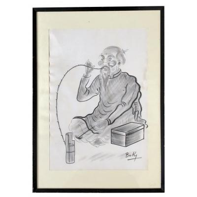 Vietnam, 1950s, Portrait Of Opium Smoker With Chinese Ink On Silk Signed Beky.