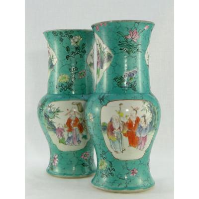 China, XIXth Century, Pair Of Porcelain Vases Decor Dignitaries And Children.