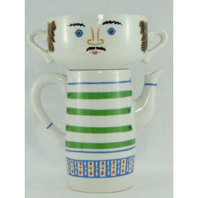 Porcelaine De Paris 1970, Ear Cup And Teapot Set By Jean Hury (2).