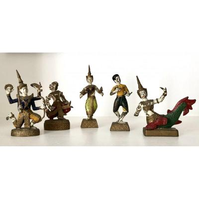 Thailand, 1930s, Five Small Painted Bronze Statuettes, Dancers And Musicians.