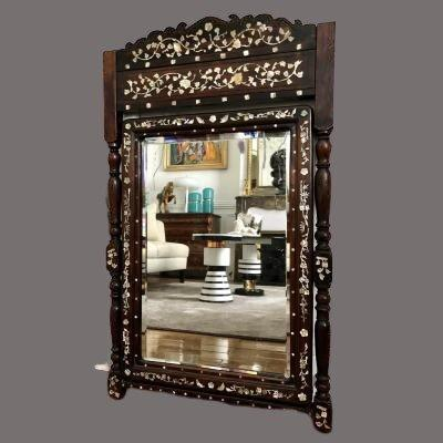 Vietnam Around 1900, Mirror In Wood Inlaid With Mother Of Pearl.
