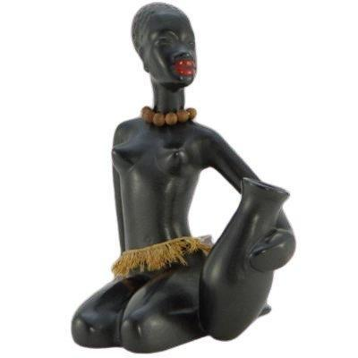 1950s, Germany Or Austria, Africanist Ceramic Statuette.