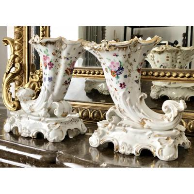 France, 1840s, Pair Of Paris Porcelain Bouquetières Shape Horns Of Plenty.