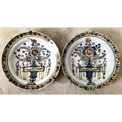Delft, XVIIIth Century, Pair Of Polychrome Earthenware Dishes.