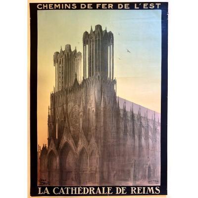 Affiche 1920  La Cathédrale De Reims Par Jean Droit (1884-1961).