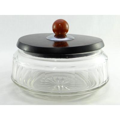 France, 1920/1930, Possibly Manufacture De Baccarat, Covered Pot In Cut Crystal And Ebony.