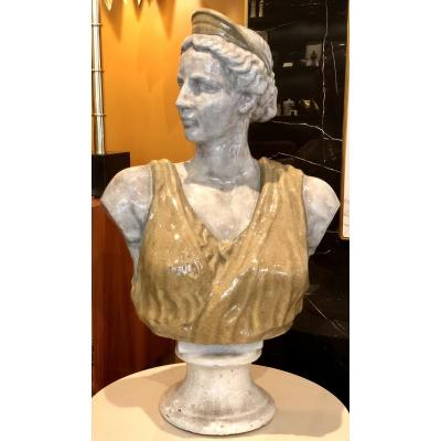 Italy, Years 1950/1960, Important Bust In Antique Enamelled Terracotta.